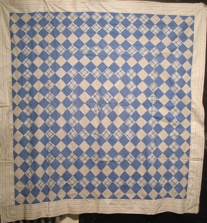 ONE PATCH DIAMOND PIECED ANTIQUE QUILT TOP