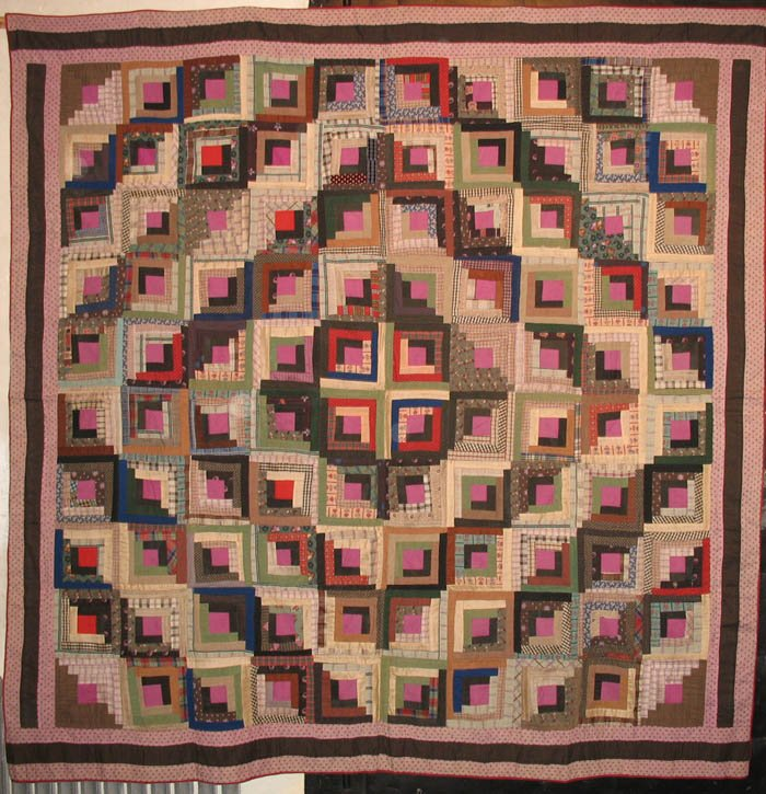 LOG CABIN BARN RAISING ANTIQUE QUILT violet, cream wool challis prints