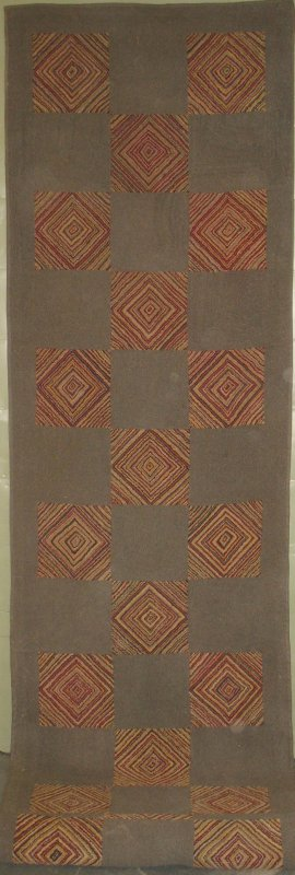 CONCENTRIC DIAMONDS AND GREIGE SQUARES ANTIQUE HOOKED RUNNER