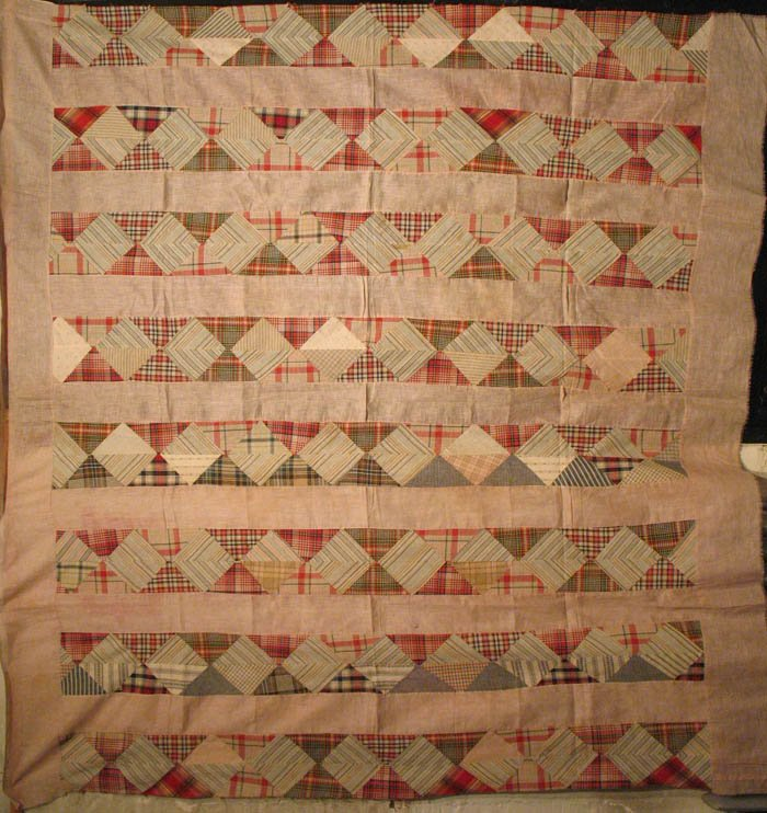 ECONOMY PATCH BARS PIECED ANTIQUE QUILT TOP
