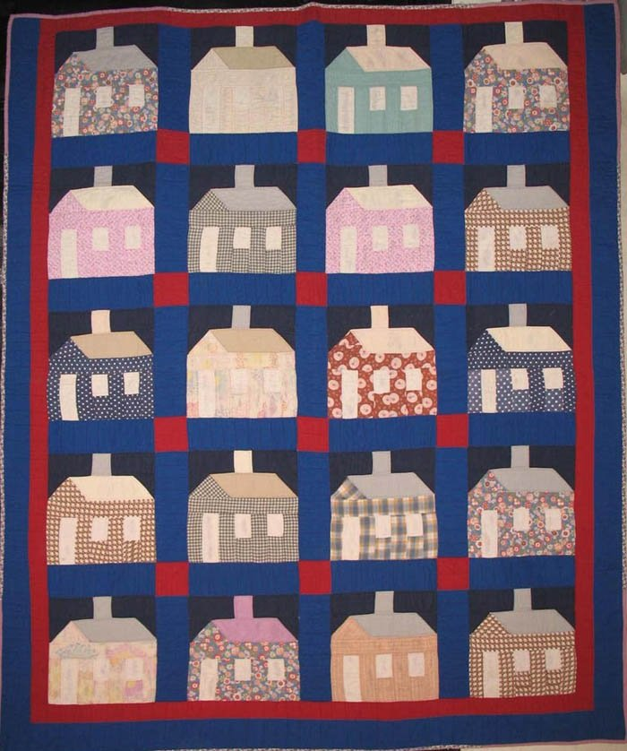 HOUSE AT NIGHT ANTIQUE QUILT