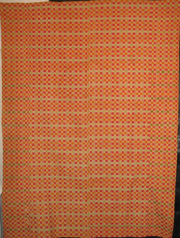 CHECKED OVERSHOT ANTIQUE COVERLET orange, yellow, green