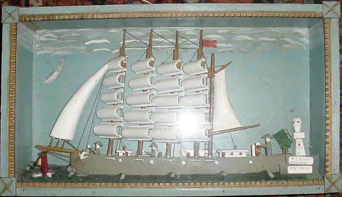 FOLKY ANTIQUE SHIP DIORAMA IN TRAMP ART FRAME