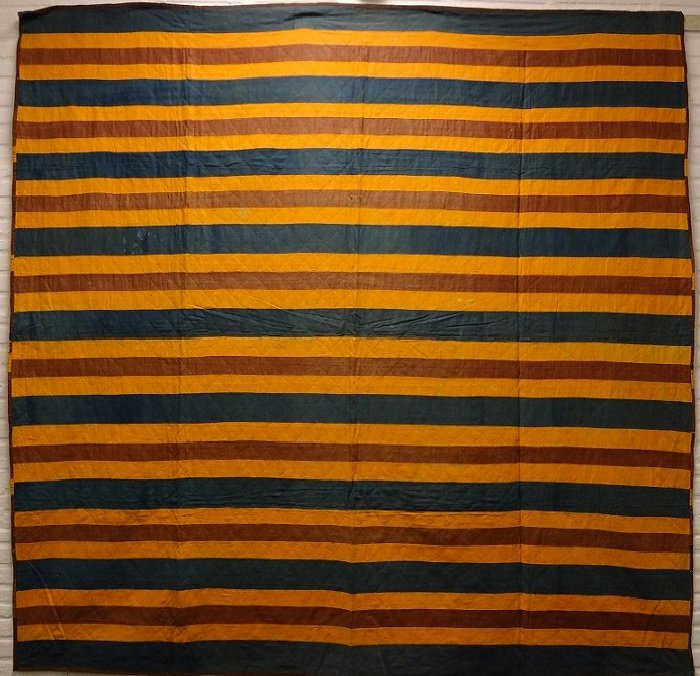 SPLIT BARS MENNONITE ANTIQUE QUILT reversible