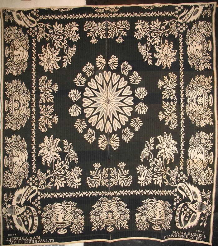 HARRY TYLER FOR MARIA RUSSELL ANTIQUE JACQUARD COVERLET