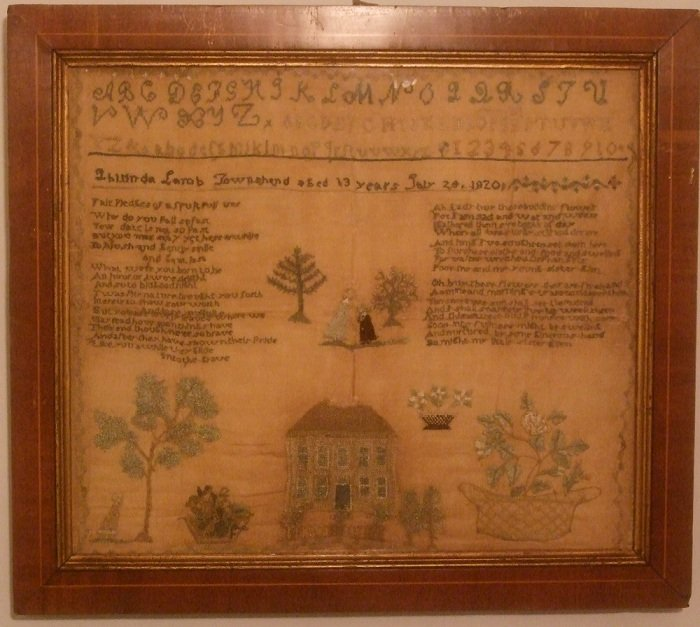 ANTIQUE SAMPLER, VERMONT, LUCINDA LAMB, TOWNSHEND