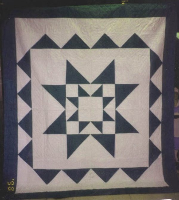 STAR WITHIN A STAR ANTIQUE QUILT green white