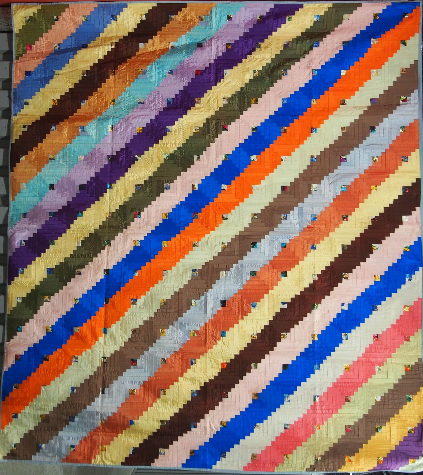 LOG CABIN STRAIGHT FURROW SATIN RIBBONS ANTIQUE PIECED QUILT