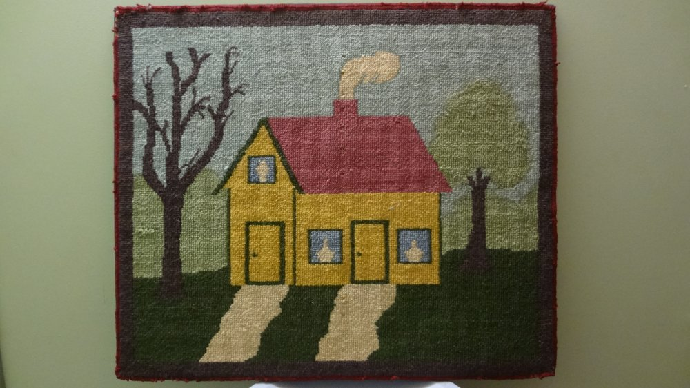 HOUSE WITH TWO PATHS ANTIQUE HOOKED RUG