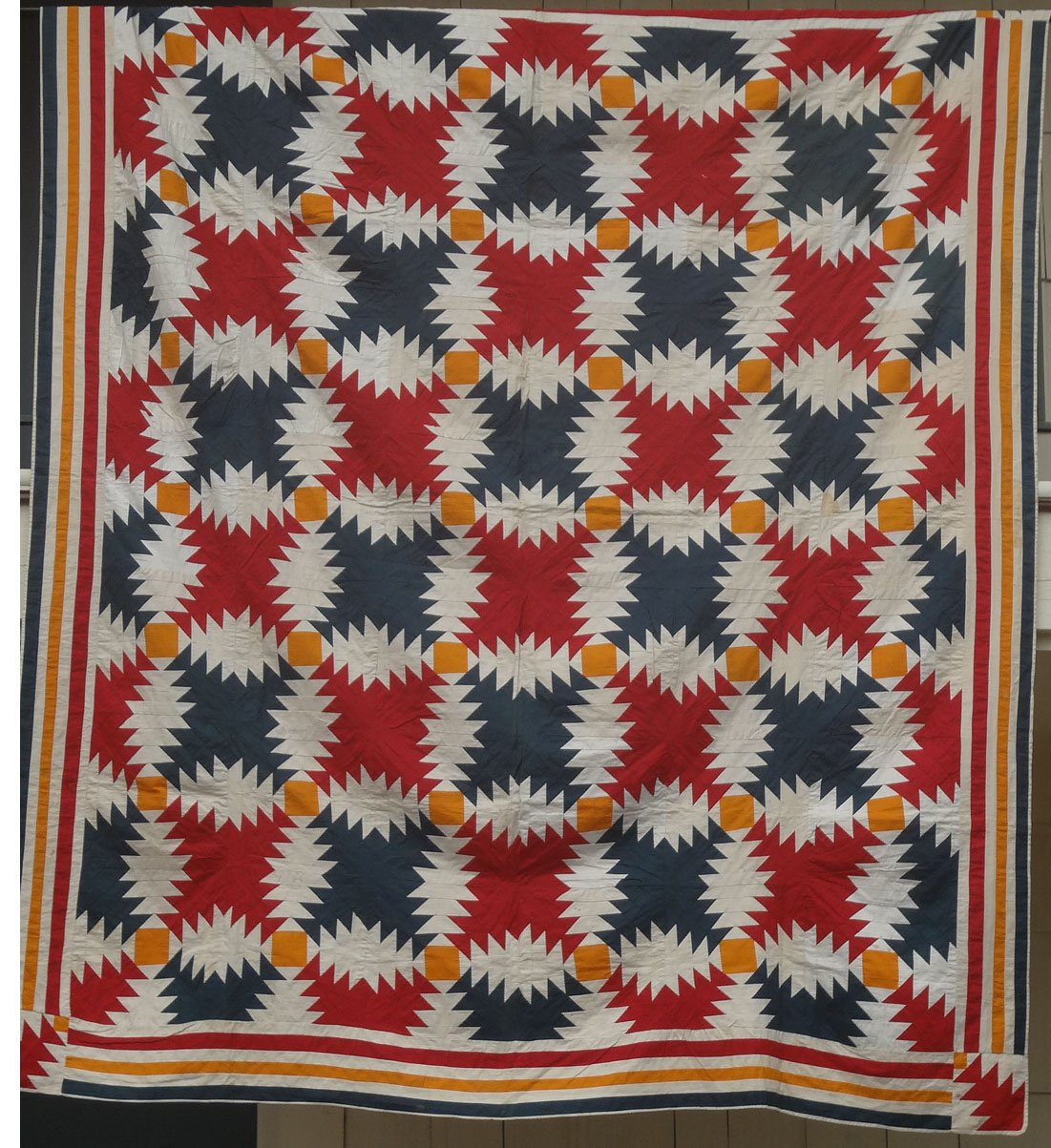LOG CABIN WINDMILL BLADES ANTIQUE QUILT, Mennonite solid cottons