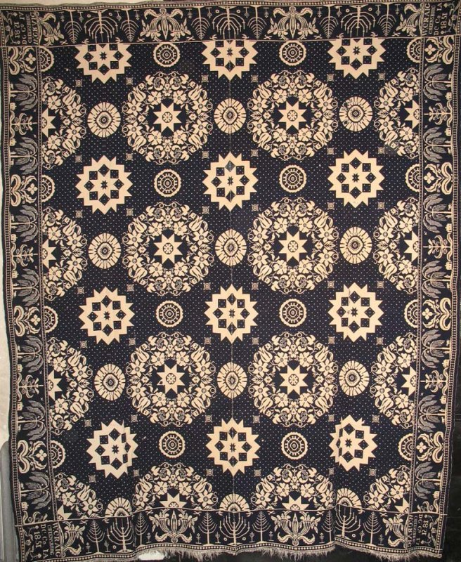 W. CRAIG, INDIANA ANTIQUE JACQUARD COVERLET