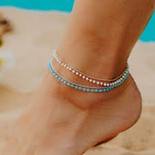 Pura Vida Beaded Chain Anklet - Blue/Silver