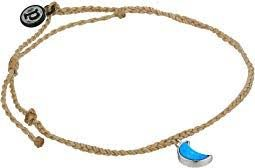 Pura Vida Cresent Moon Anklet Silver - Sand