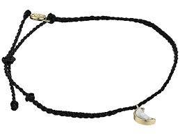 Pura Vida Cresent Moon Anklet Gold - Black