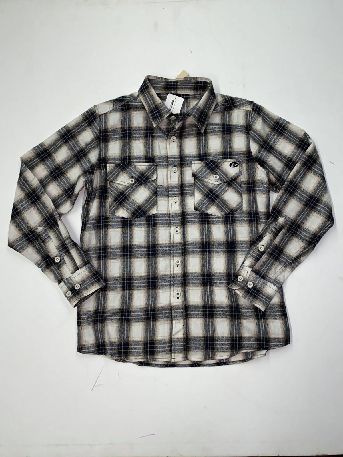 Salty's Brand Men's Flannel Button Down Shirt - Stone/Navy