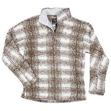 True Grit Unisex Big Plaid Frosty Tipped 1/4 Zip Pullover - Multiple Colors