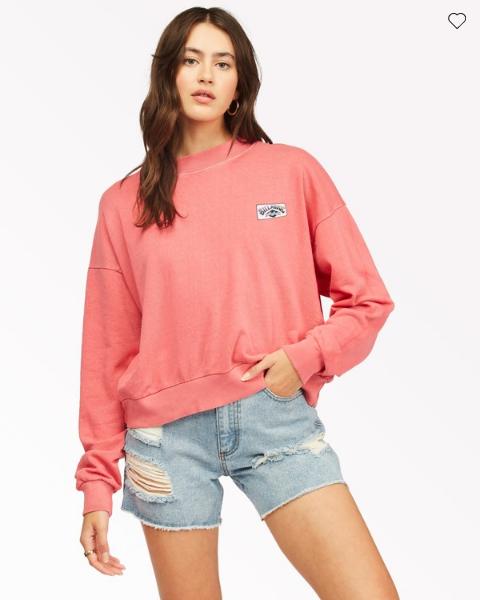 Billabong Women's Lets Chill Pullover Sweatshirt - Vintage Red