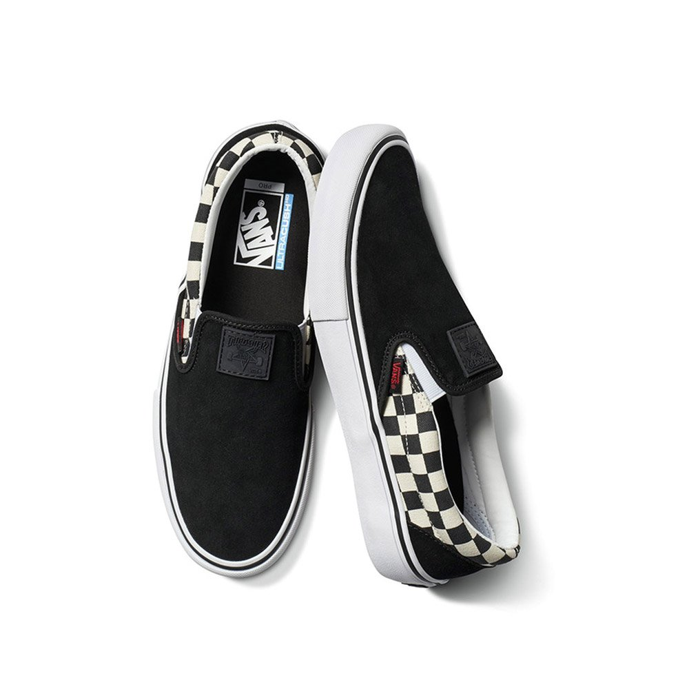 Vans x Thrasher Slip On Pro (Thrasher Black) Mens Skate Shoes 12