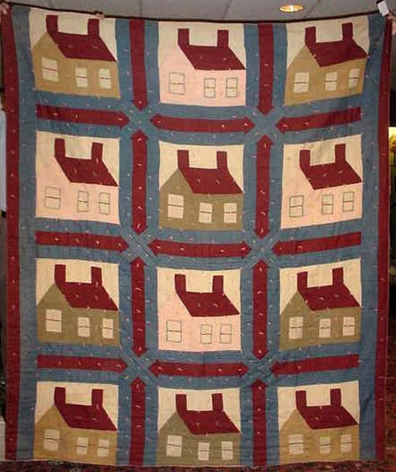 THIS OLD HOUSE ANTIQUE QUILT, unusual in wool
