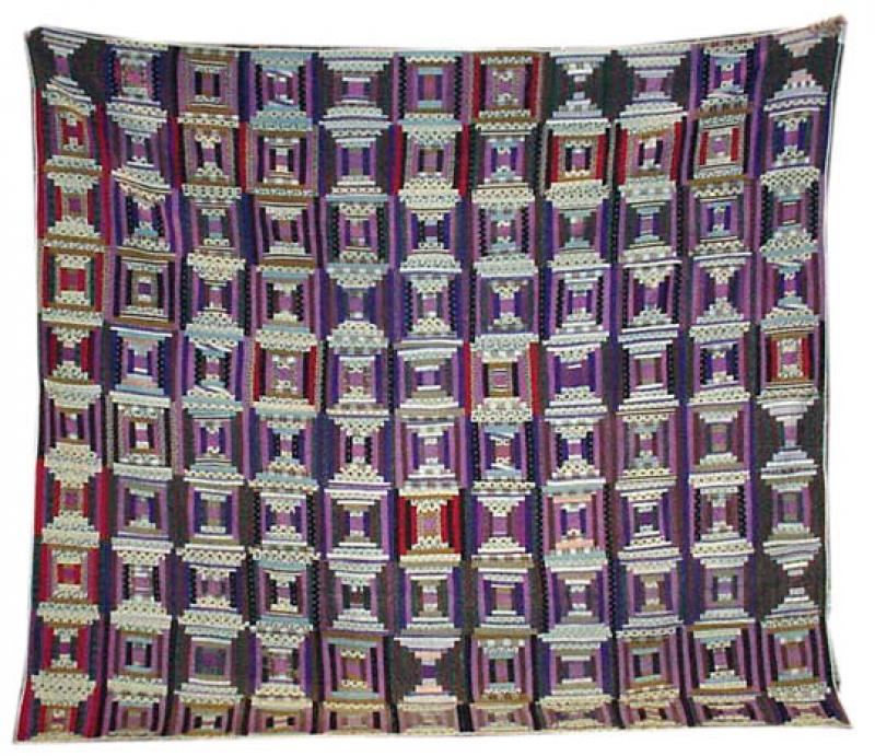 LOG CABIN COURTHOUSE STEPS (wool challis) ANTIQUE QUILT