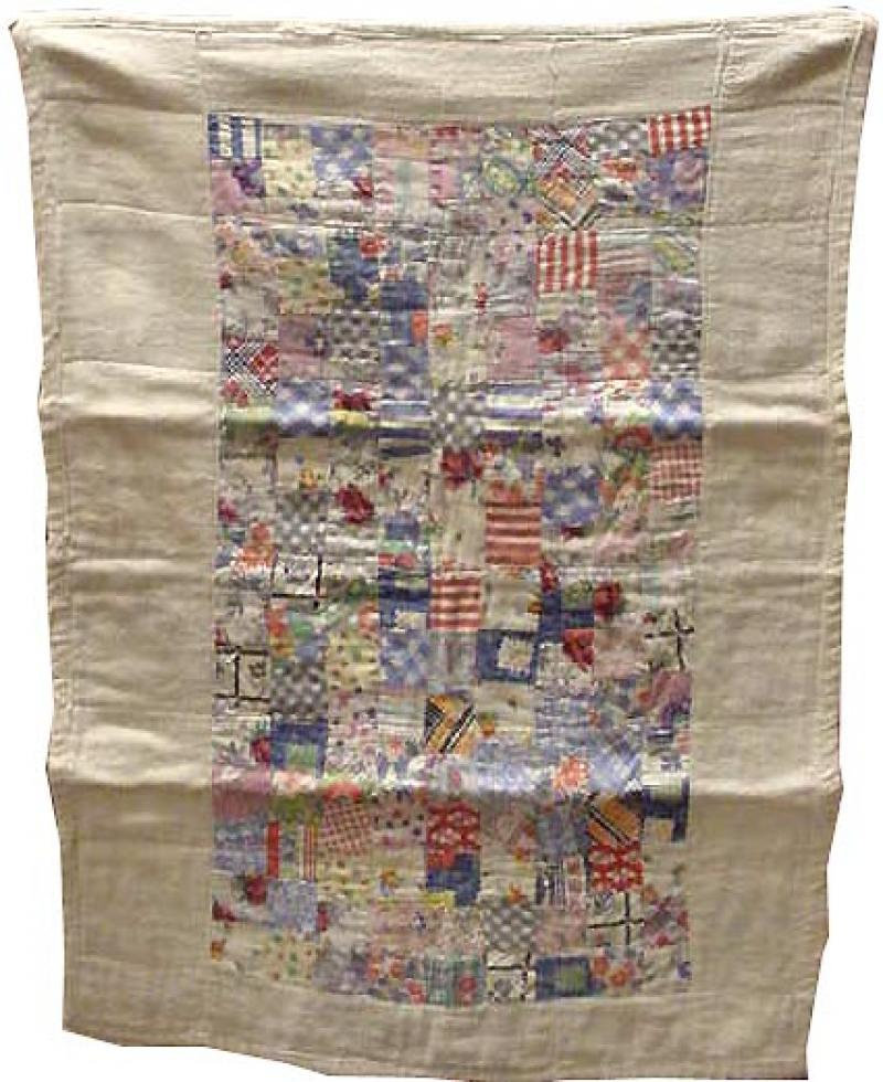 ONE PATCH POSTAGE STAMP VINTAGE DOLL QUILT