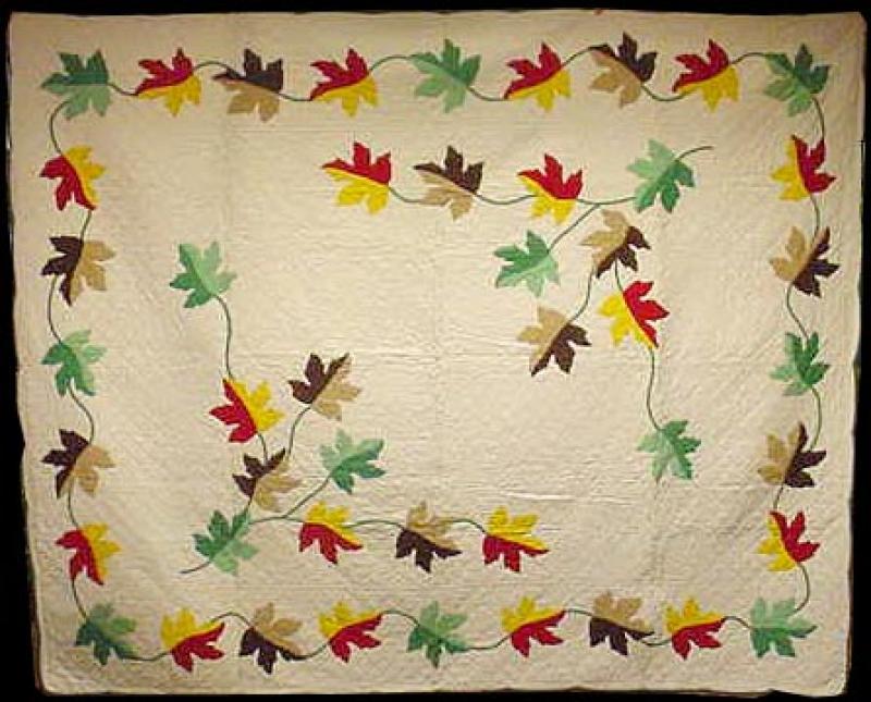 Maple leaves applique quilt