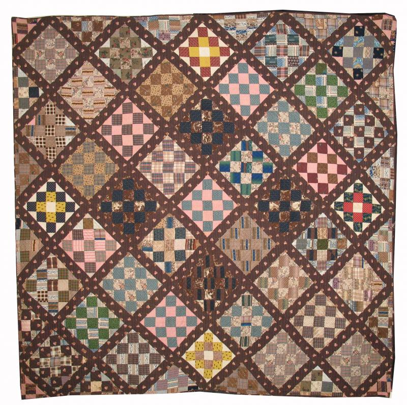 25- PATCH DIAMOND ANTIQUE QUILT, handsome early fabrics