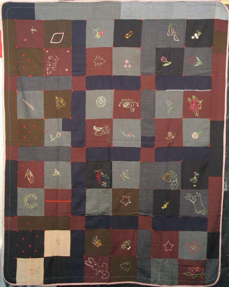 FOUR PATCH SUITING EMBROIDERED VINTAGE QUILT