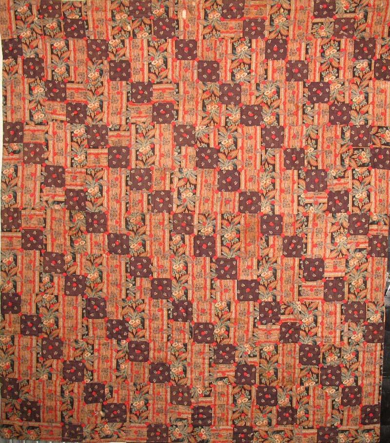 FOUR PATCH STRAIGHT FURROW ANTIQUE QUILT  paisley-esque wool challis