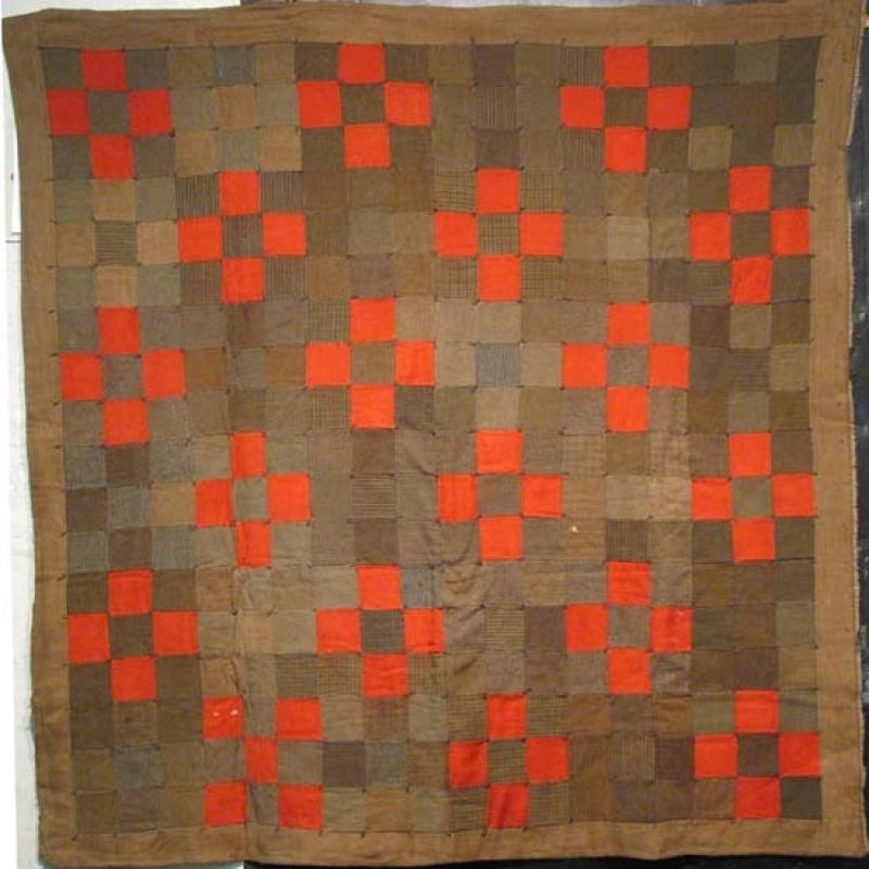 NINE PATCH KHAKI UNIFORMS PIECED QUILT
