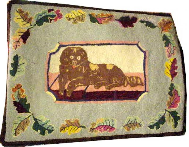 DOG ANTIQUE  HOOKED RUG, SPANIEL, FROST PATTERN