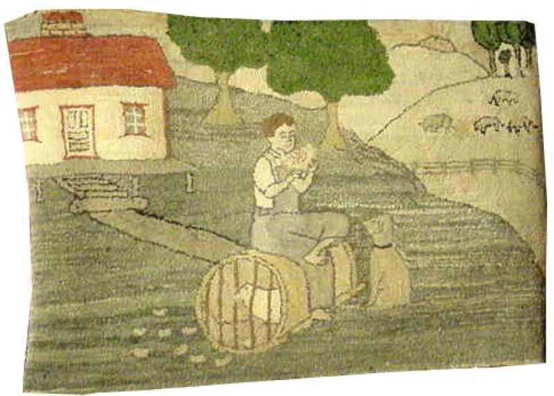 BOY EATING MELON| FARM LANDSCAPE RUG