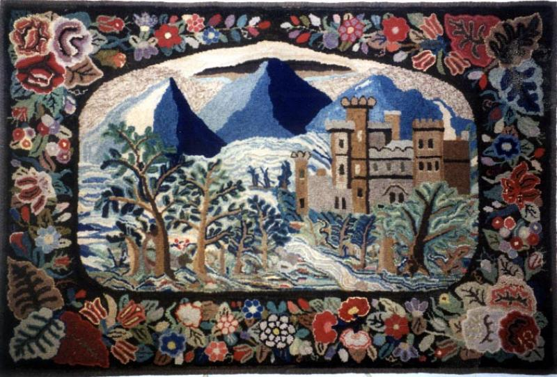 CASTLE IN MOUNTAIN LANDSCAPE ANTIQUE HOOKED RUG, FLORAL BORDER