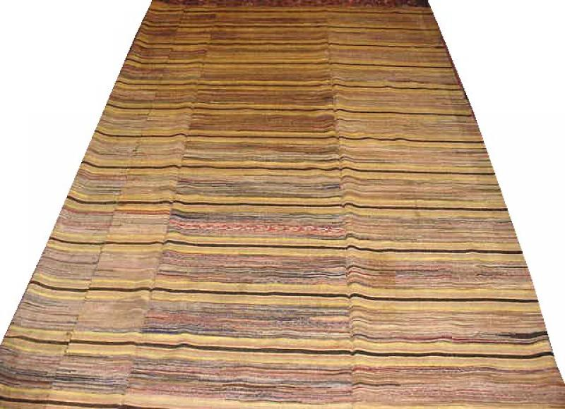 RAG CARPET THREE PANELS ROOM SIZE ANTIQUE WITH THIN STRIPES