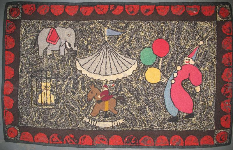 CIRCUS MERRY-GO-ROUND VINTAGE HOOKED RUG