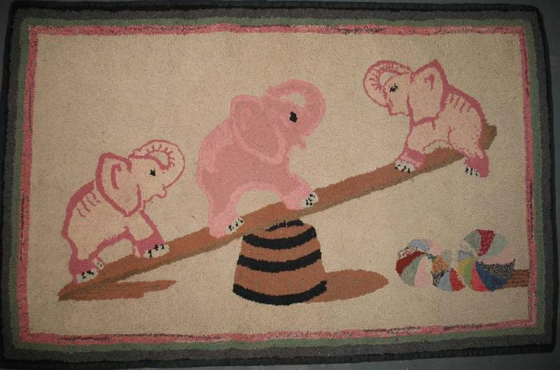 PINK ELEPHANTS ON A SEESAW VINTAGE HOOKED RUG