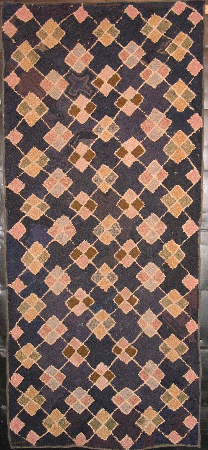 ARGYLE' FOUR PATCH DIAMONDS HOOKED RUG