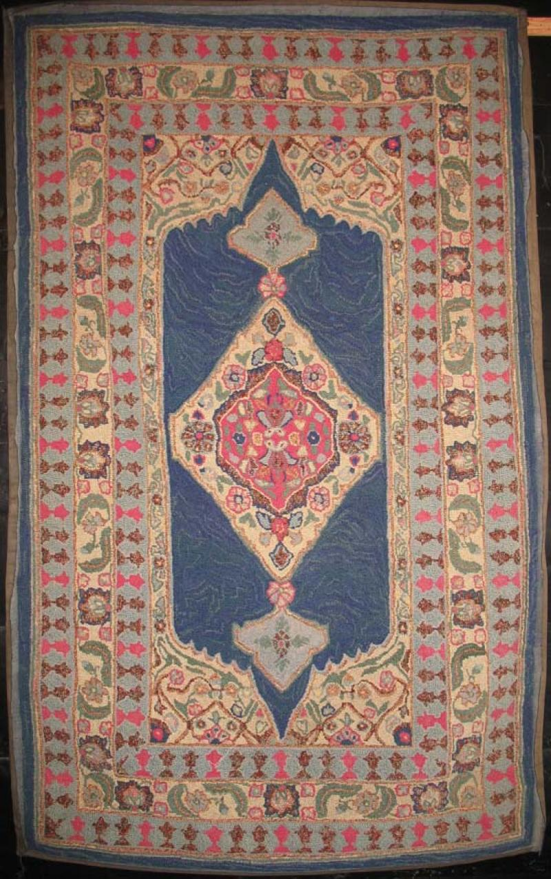 PERSIAN GARDEN ANTIQUE LARGE HOOKED RUG signed Pearl McGown ANTIQUE HOOKED RUG