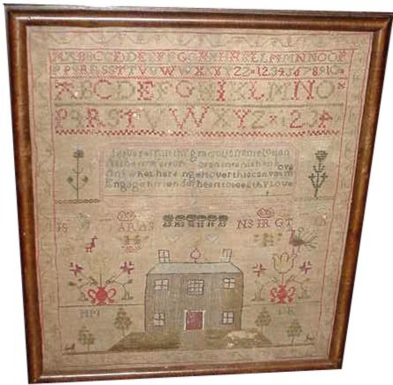 HOUSE AND ALPHABET ANTIQUE SAMPLER