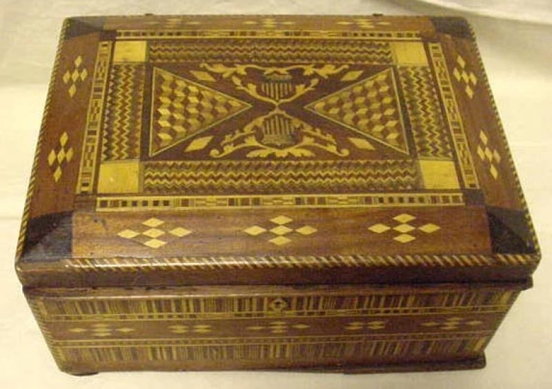 MARQUETRY DRESSER BOX WITH AMERICAN SHIELDS