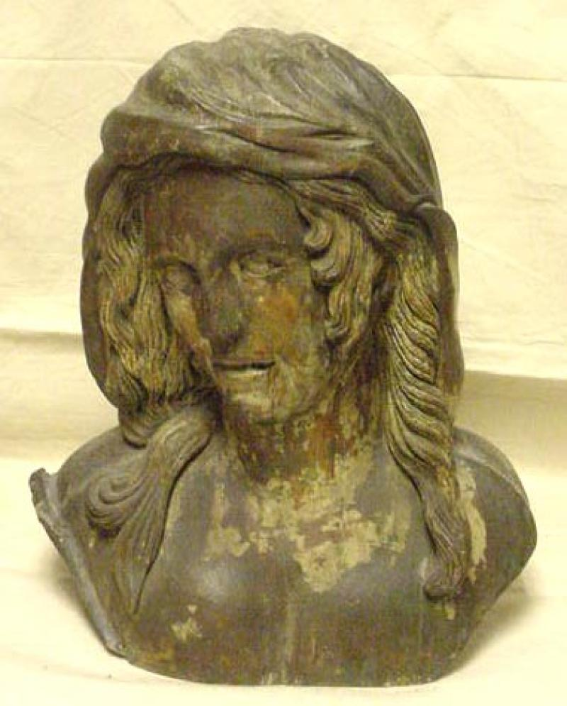 ARCHITECTURAL CARVING OF A WOMAN'S HEAD