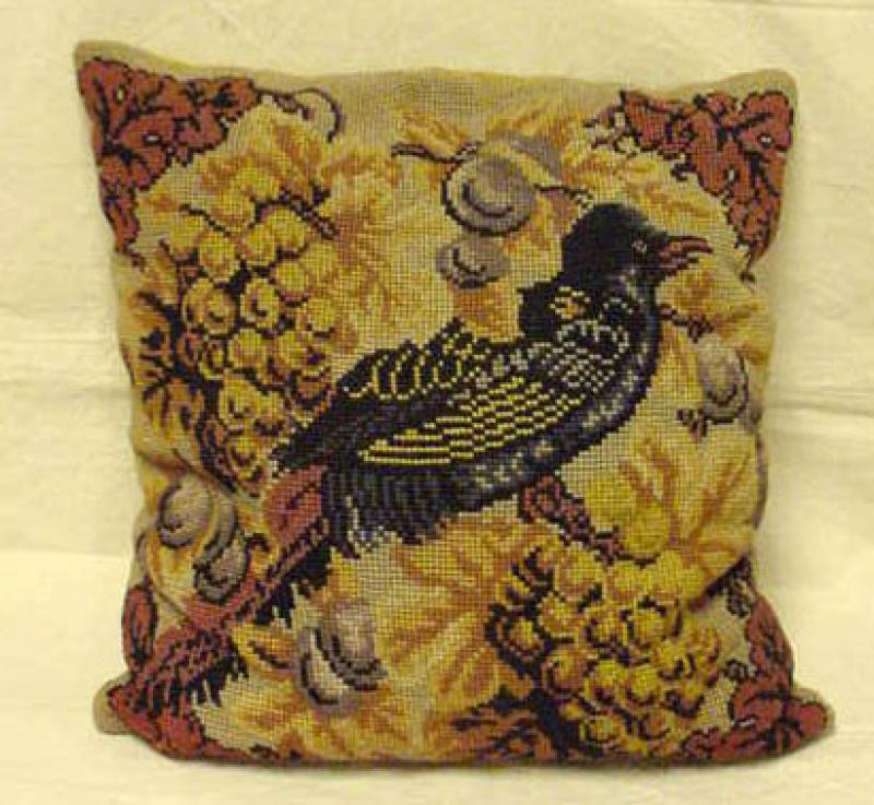 NEEDLEPOINT PILLOW OF A PHEASANT