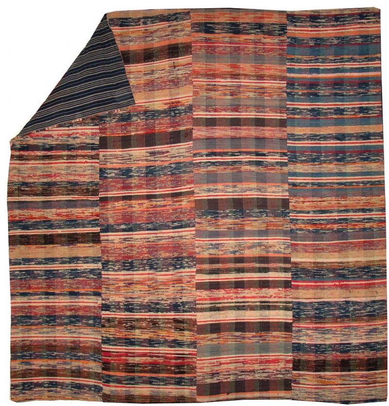 JAPANESE SAKI-ORI ANTIQUE RAG WOVEN SPREAD, CARPET