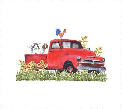 Kathleen McElwaine DE004 Red Truck and Goats