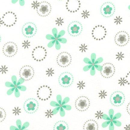 Cozy Cotton Flowers-White/Mint