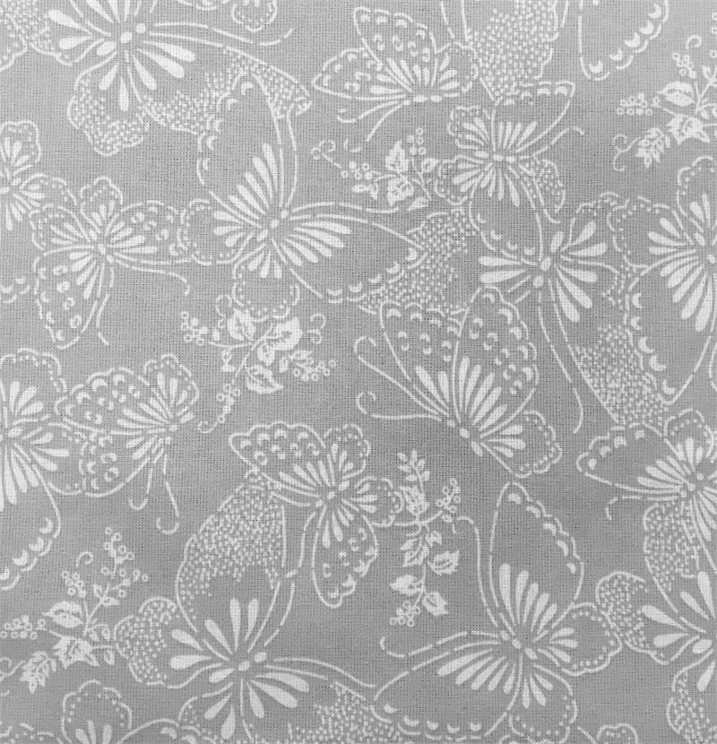 110 Cotton Quilt Back-Grey-Butterflies-3yds