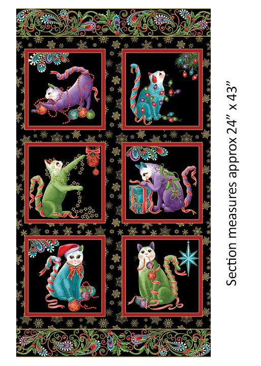 Benartex Cat-I-Tude Christmas Panel