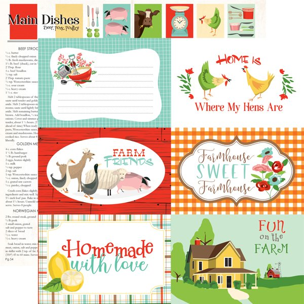 Farm To Table Double-Sided Cardstock 12X12-6X4 Journaling Cards