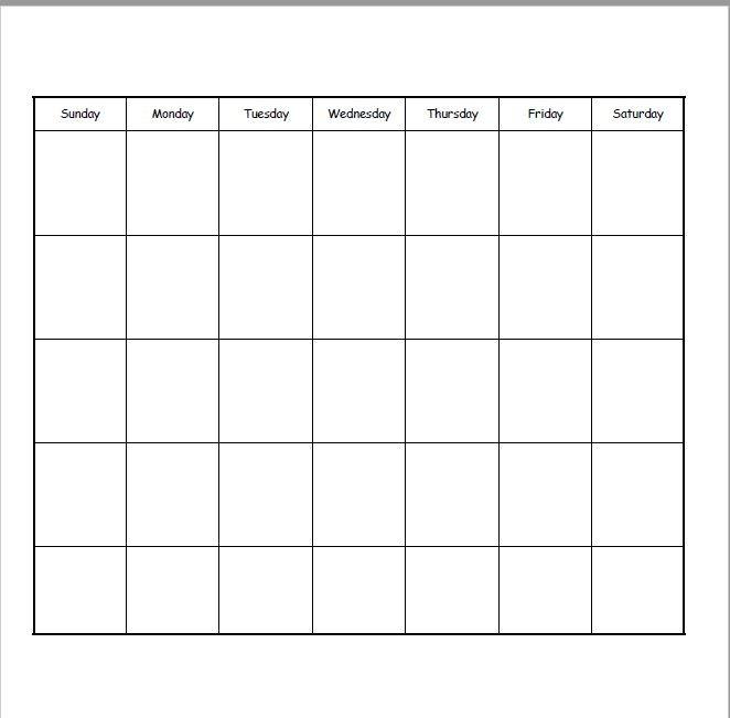 12x12 Blank Calendar Paper