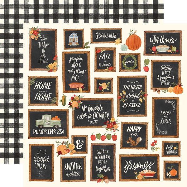 Hello Autumn Double-Sided Cardstock 12X12-Give Thanks Boards